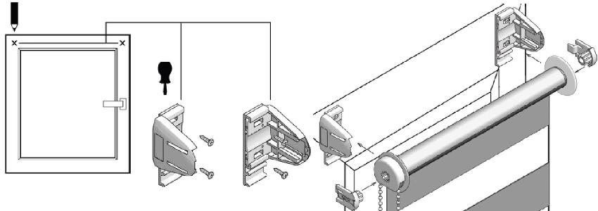 Схема монтаж жалюзи на пластиковое окно при помощи сверления