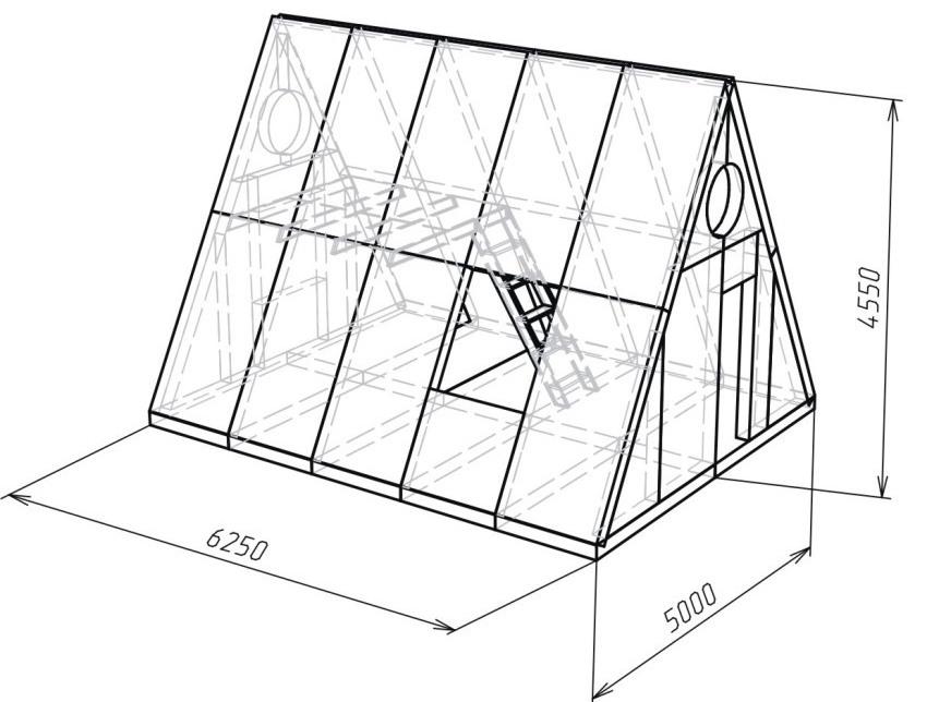 Вариант схемы дома-шалаша