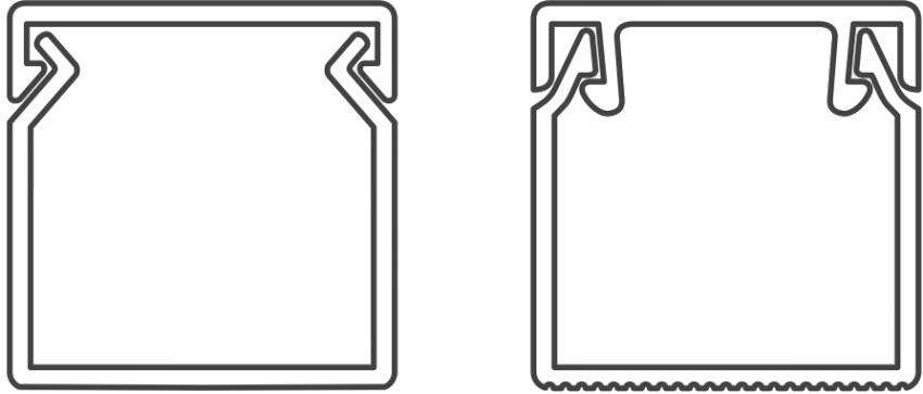 Вид кабель-канала с одинарным и двойным замком в разрезе