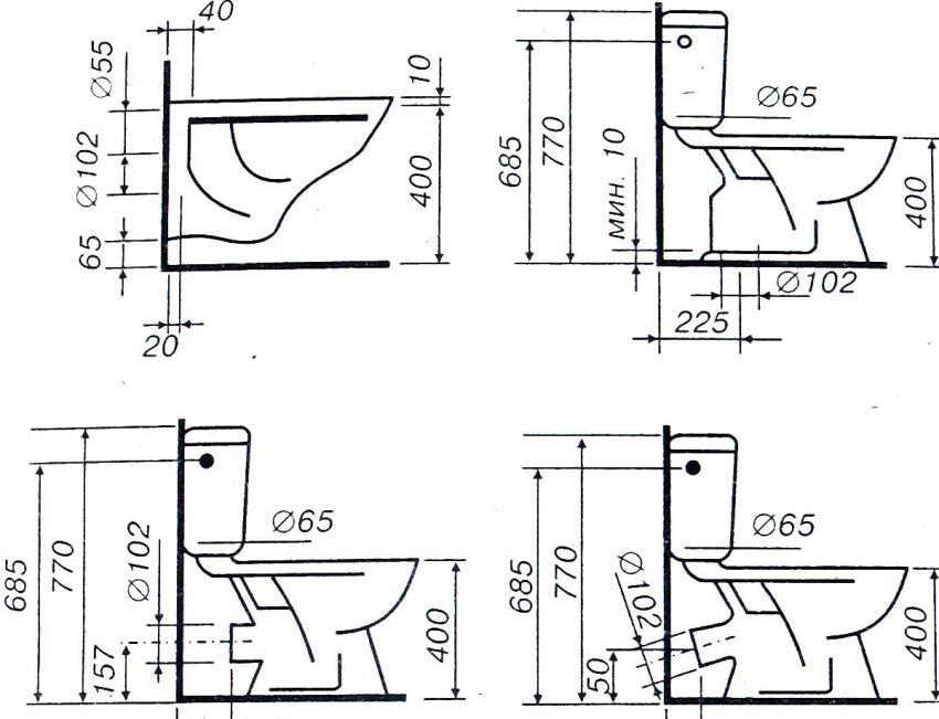 Схема вариантов подключения унитаза к канализации