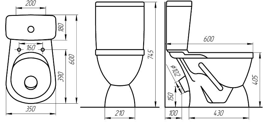 Схема стандартного размера унитаза