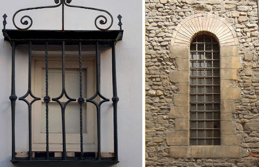 Пример решеток декоративного и защитного типов