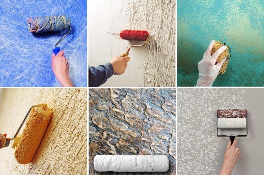 Для нанесения декоративной штукатурки могут использоваться: губки, фактурные валики, шпатели.