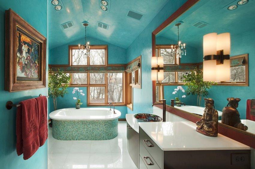 Оформление ванной в ярких тонах может быть довольно стильным и интересным
