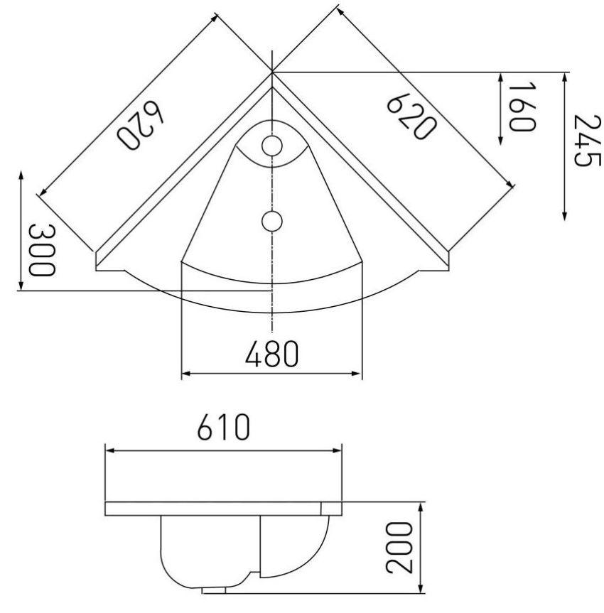 Схема угловой тумбы под раковину