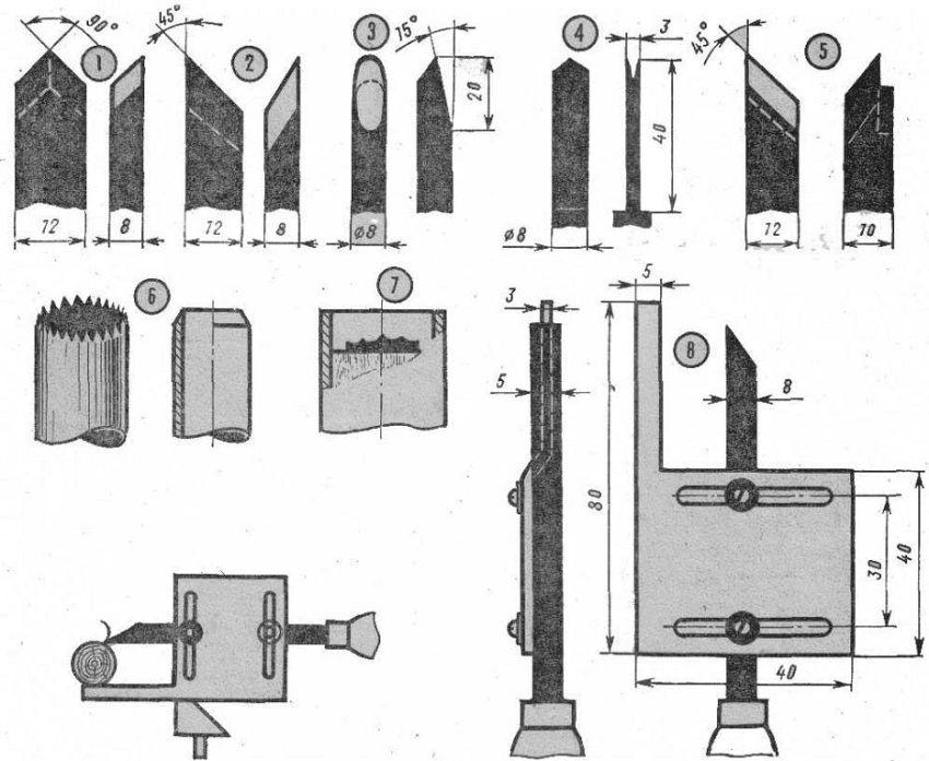 Самодельные токарные резцы по обработке древесины: 1 — для глубокой обработки, 2 — для чистой обработки, 3— фасонного точения, 6 —отрезной, 5— расточной, 6 — для точения шариков, 7— для торцевого фасонного точения, 8 — резец с ограничителем