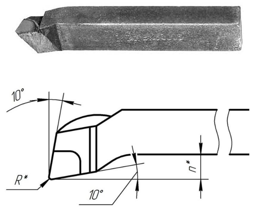 Рабочий элемент резца подрезного представляет собой острую кромку (клин), который врезается в слой материала и деформирует его