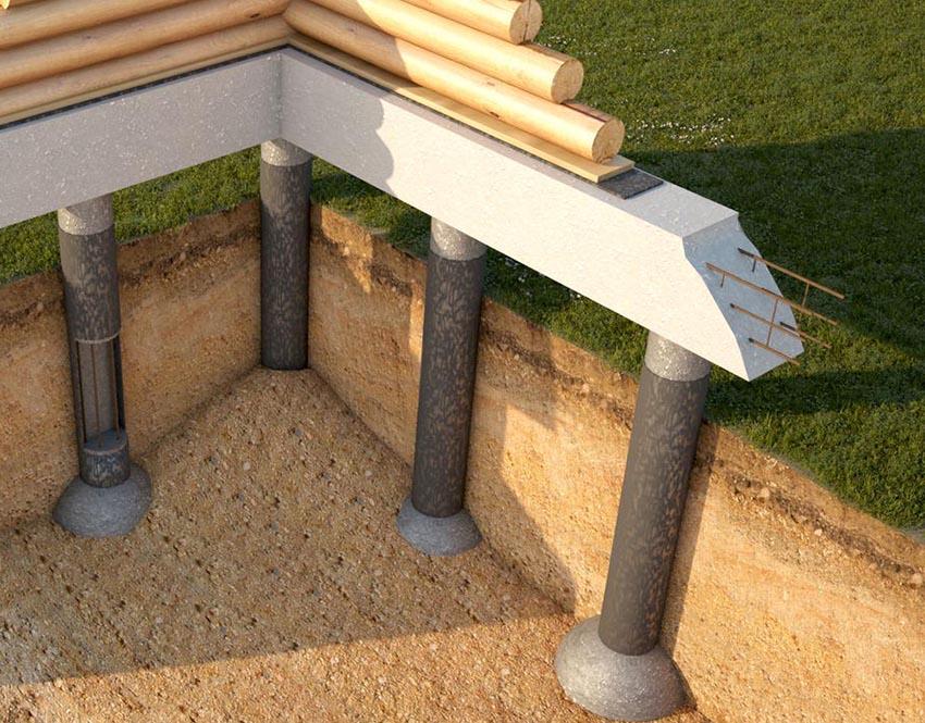 Ростверк сборного типа может быть выполнен из металла или дерева