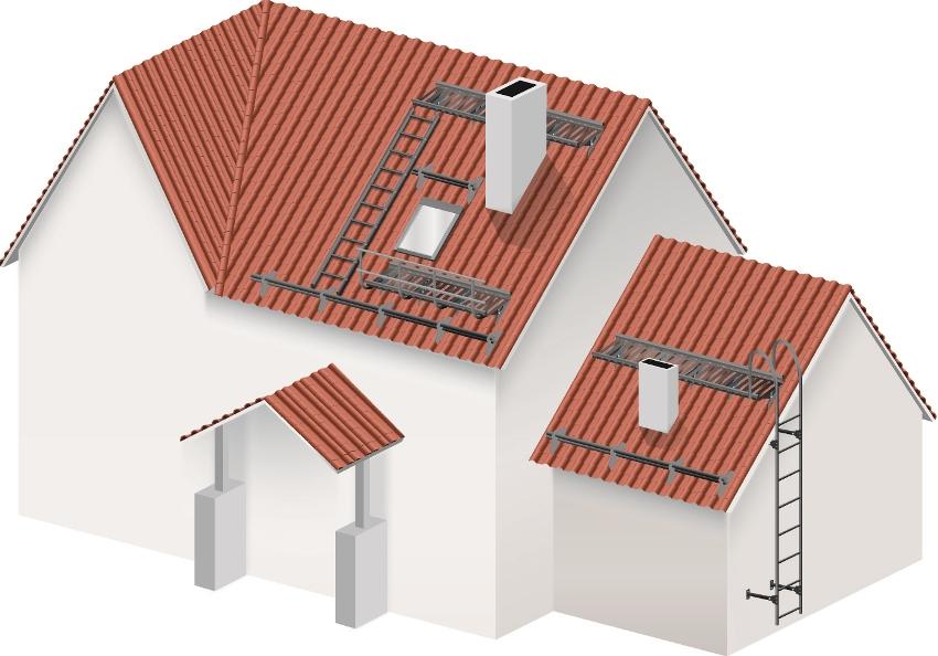 Трехмерная схема размещения снегозадержателей на двускатной крыше