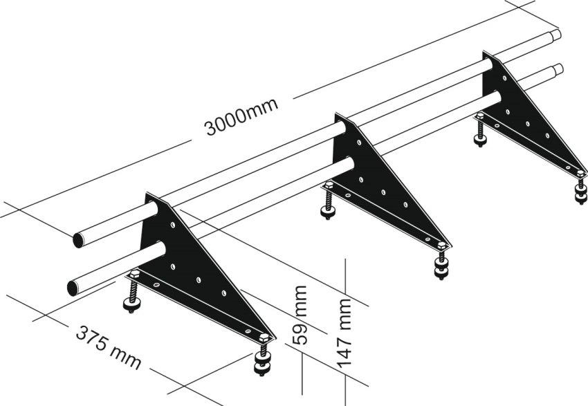 Габаритные размеры комплекта универсального трубчатого снегозадержателя