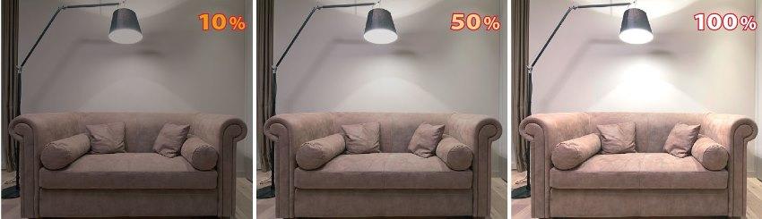 Пример изменения уровня освещения диммированной лампы в диапазоне 10-100%