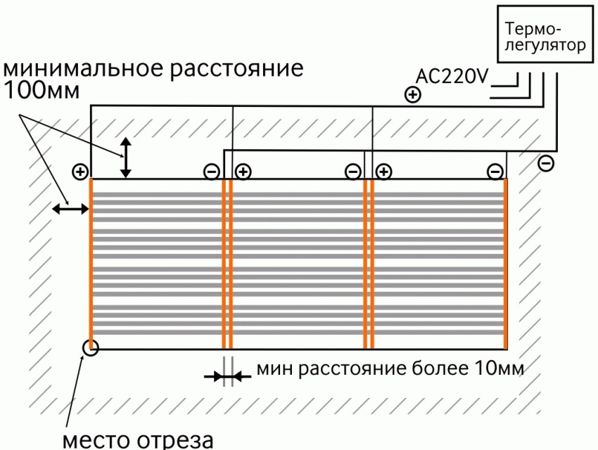 Схема подлючения пленочного инфракрасного нагревателя