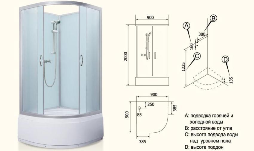 Удачная модель угловой кабинки 90х90 от производителя сантехники Niagara, стенки и поддон которой изготовлены из качественного европейского акрила белого цвета