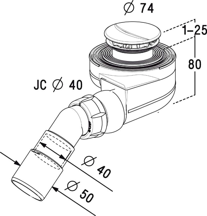 Размеры сифона для душевого поддона