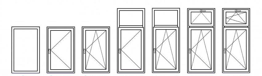 На изображении показаны основные формы и конфигурации одностворчатых пластиковых окон