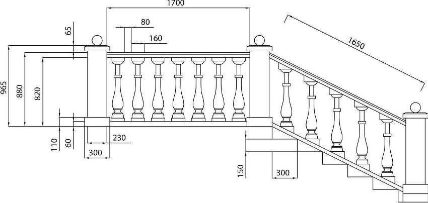 Пример чертежа лестницы на крыльцо загородного дома