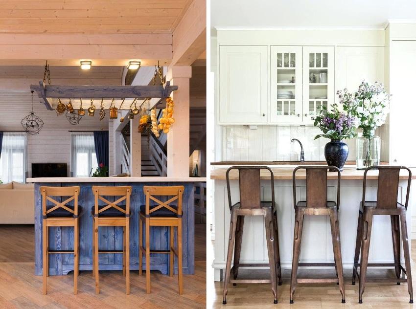 Выбирая стулья для барного стола необходимо учитывать общее стилевое решение интерьера
