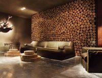 Использование деревянных срубов для декорирования стены