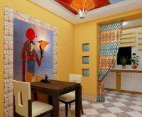Пример интересного оформления стены на кухне