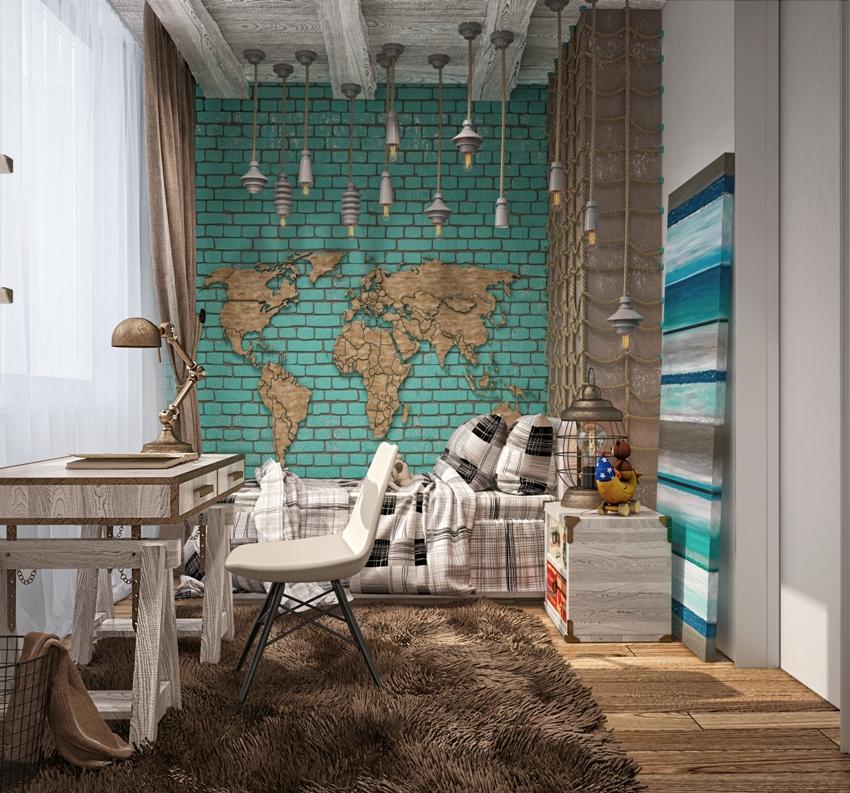 Камень в интерьере спальни уместен для декора акцентной стены, он сделает комнату оригинальной и неповторимой