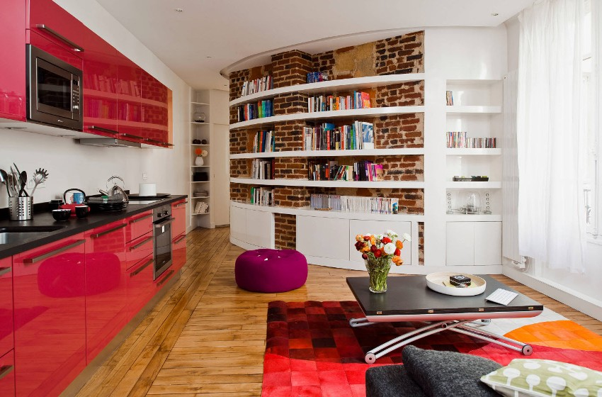 При правильно подобранной цветовой гамме, однокомнатная квартира визуально станет больше