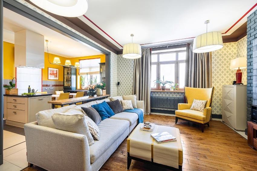 Пример удачного зонирования однокомнатной квартиры студии цветом