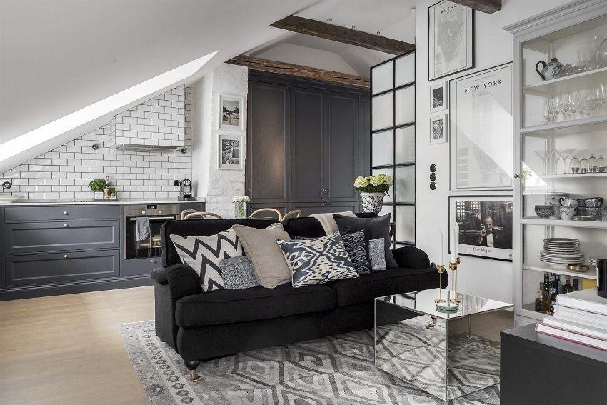 В квартире площадью 35 кв.м. всегда найдется возможность разделить спальную и гостиную зоны, найти достаточно места под шкаф