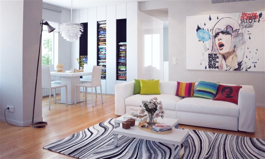 Интерьер однокомнатнной квартиры выполнен в современном стилевом направлении