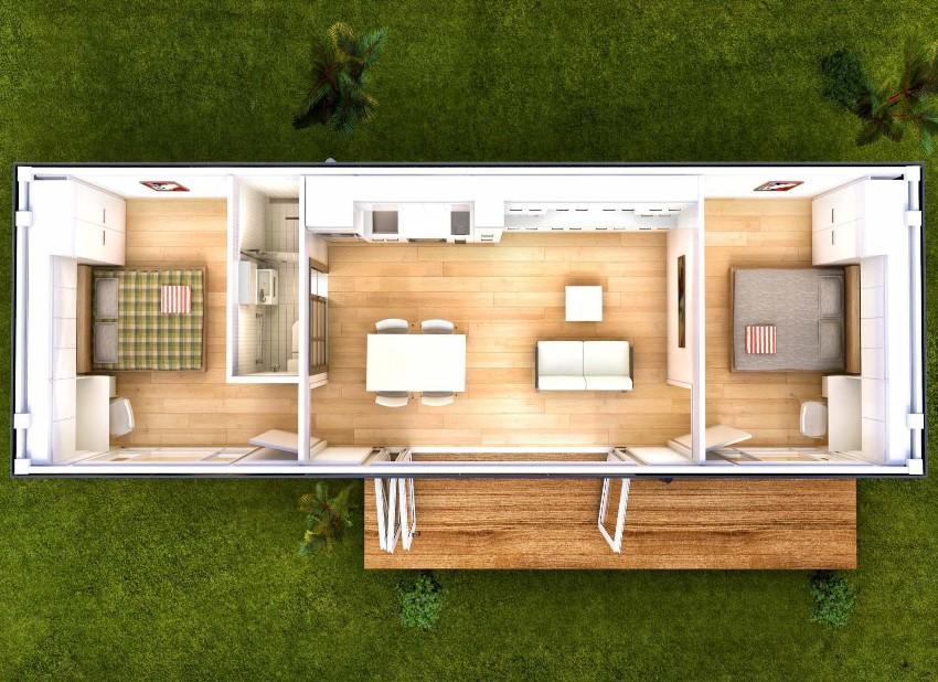 Планировка дома с двумя спальнями из морского контейнера на 40 футов