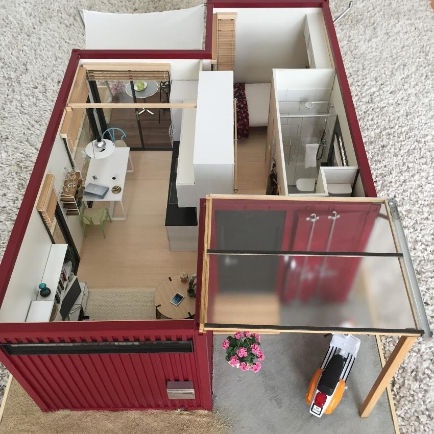 3D-проект жилого дома из двух морских контейнеров