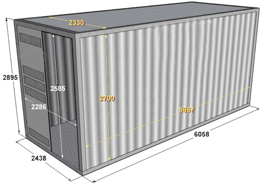 Размерные параметры 20 футового морского контейнера