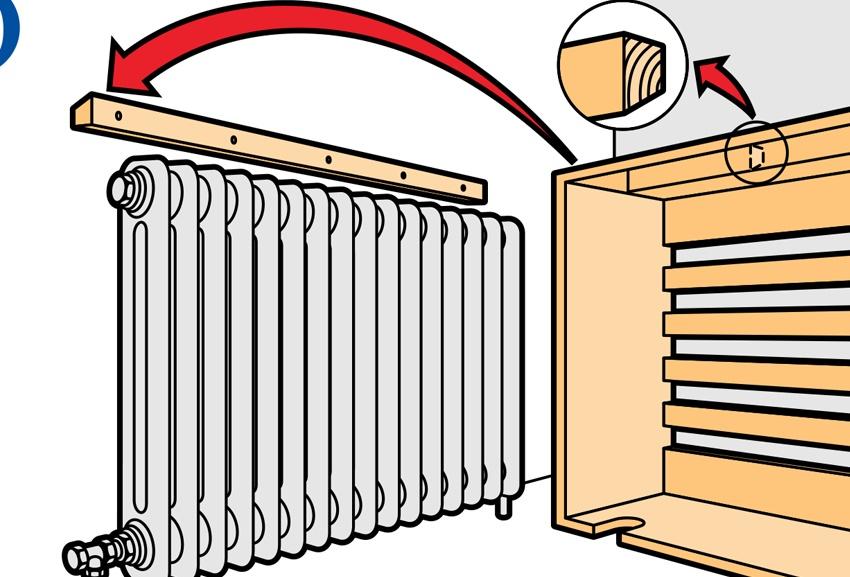 Способ установки экрана на радиатор отопления