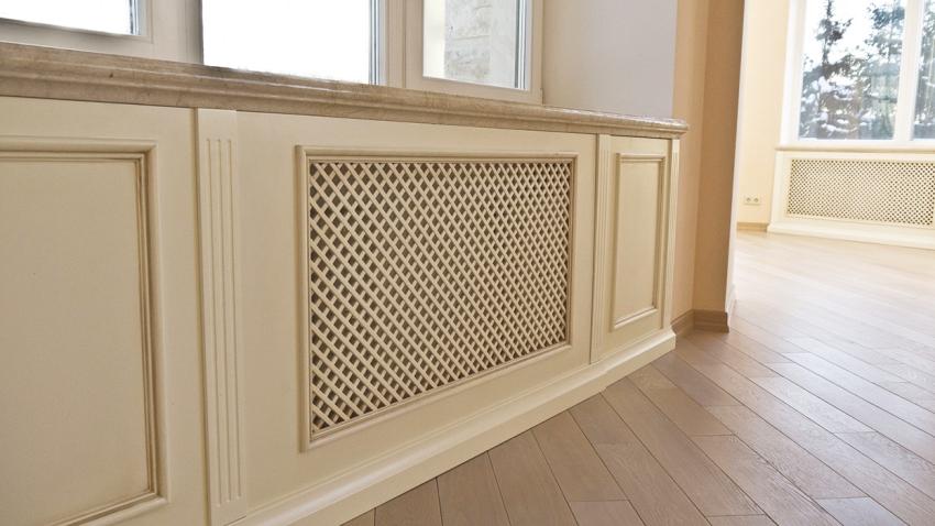 Экраны для батареи отопления представляют собой декоративную ширму, которая может быть выполнена из разных типов материалов