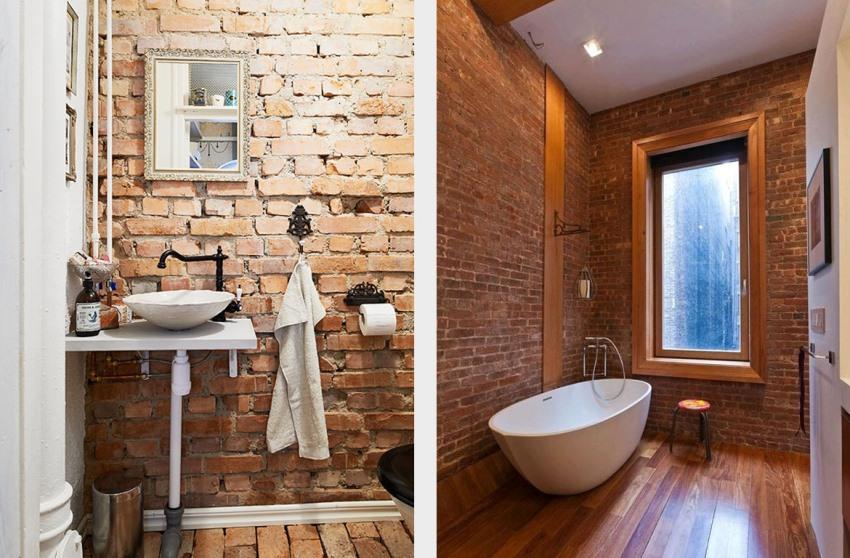 При оформлении ванной комнаты декоративным кирпичом следует отдавать предпочтение влагостойким материалам