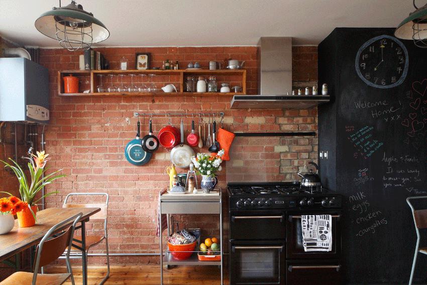 Кирпич в интерьере кухни оригинально подчеркнет внешний вид и дизайн помещения