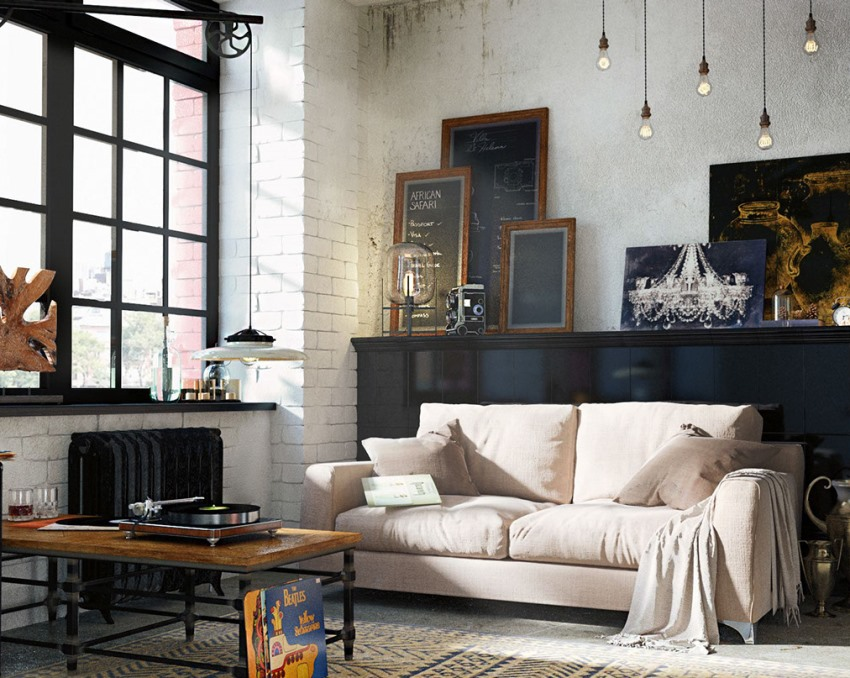 Белая кирпичная стена послужит отличным фоном для ярких акцентов интерьера
