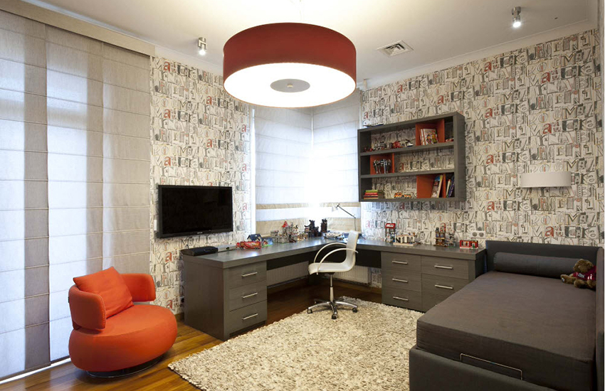 Помимо декора, с помощью фотографических обоев комнату разделяют на зоны