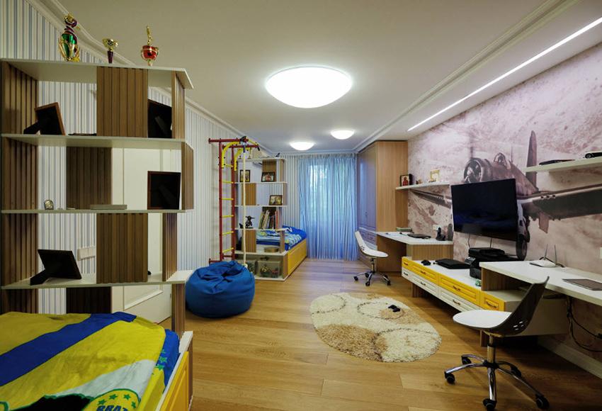 Пример оформления спальни для мальчика фотообоями