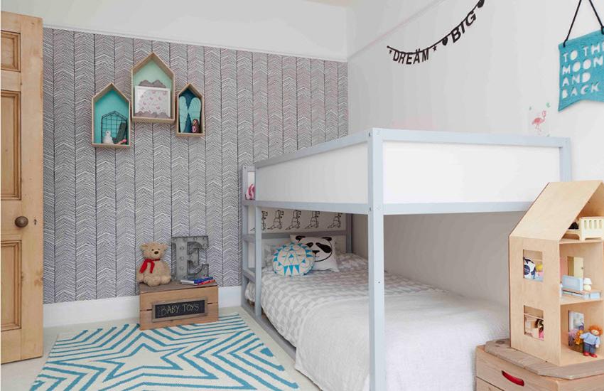 Оформление детской спальни креативными обоями