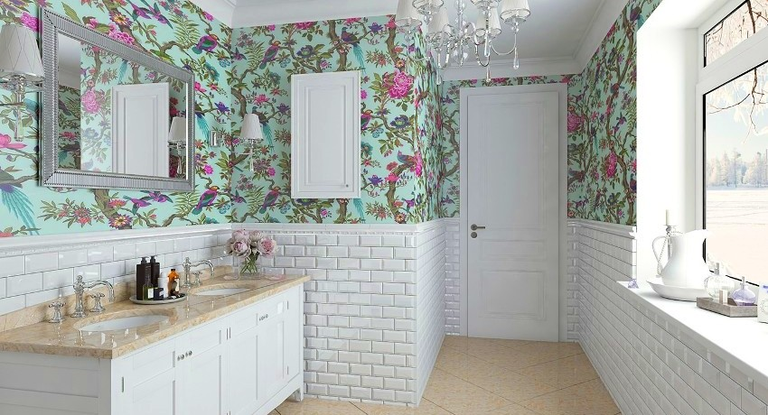 Обои ванных комнат портится мебель для ванной