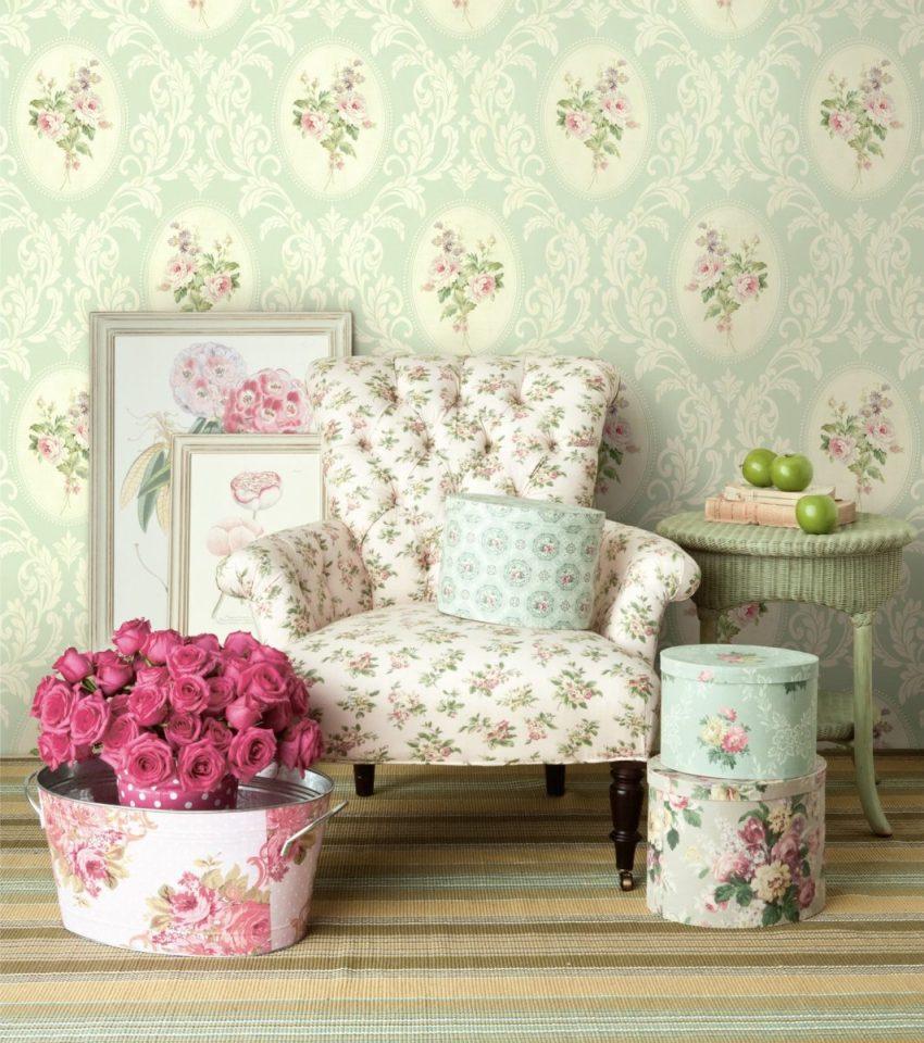 Одним из лучших вариантов для стиля прованс – обои на основе текстиля