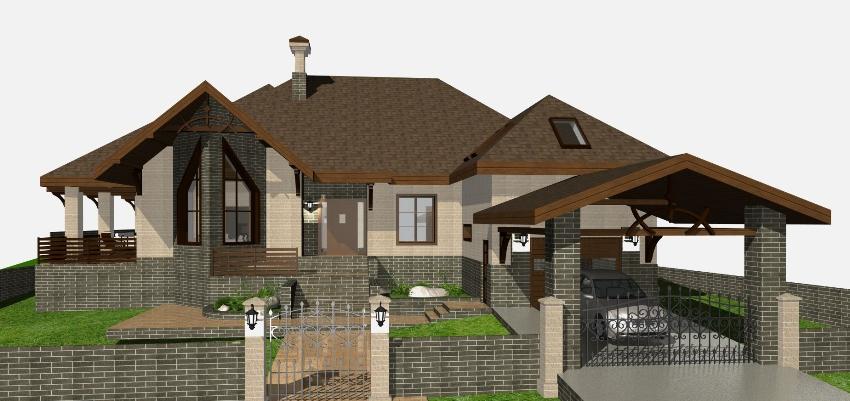 Проэкт дома с террасой со встроенным гаражом