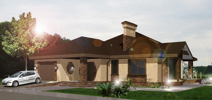 Классический проект одноэтажного дома со встроенным гаражом и террасой