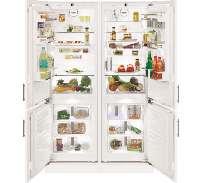 Двухдверный холодильник LIEBHERR SBS 7212 имеет камеры для хранения продуктов общим объемом 651 л
