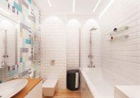 Яркая плитка с оригинальным орнаментом прекрасно разбавит белые стены совмещенного санузла