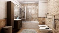 Спрятанная ванная в нише, даст возможность свободно передвигаться по комнате