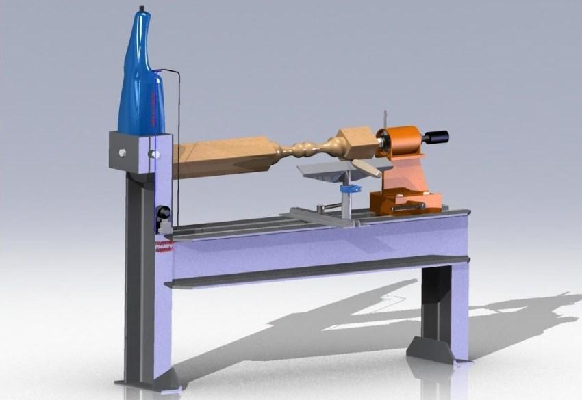 Простейший самодельный токарный станок для обработки деревянных заготовок состоит из нескольких основных частей: рамы, передней и задней бабки, ведущего и ведомого центров