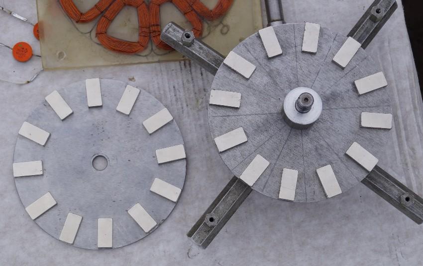 Расположение неодимовых магнитов при изготовлении самодельного ветряка