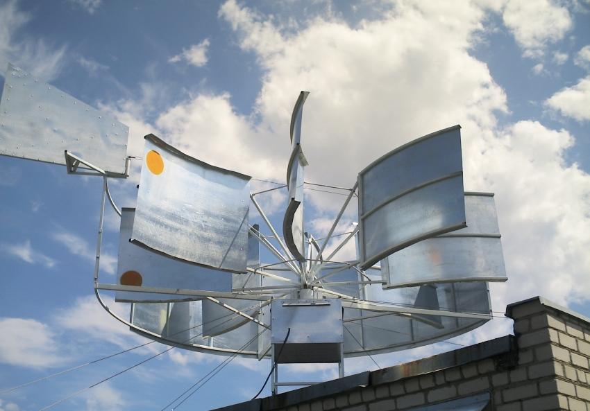 Ветрогенератор, изготовленный из деталей стиральной машины
