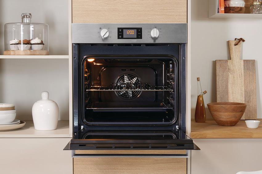 Пример встроенного духового шкафа на кухне